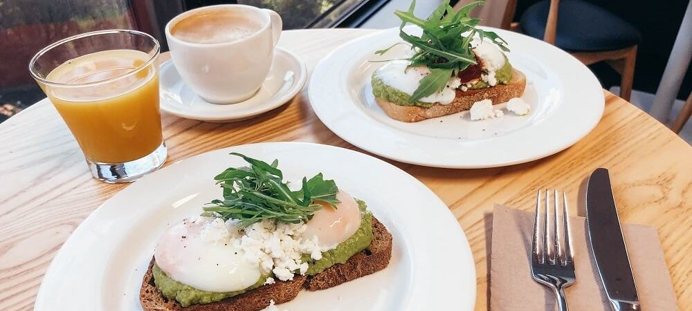 Cliftons poached eggs with smashed avocado